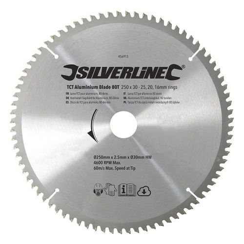 Silverline 456915 TCT Aluminium Circular Saw Blade 80 Teeth 250mm x 30mm